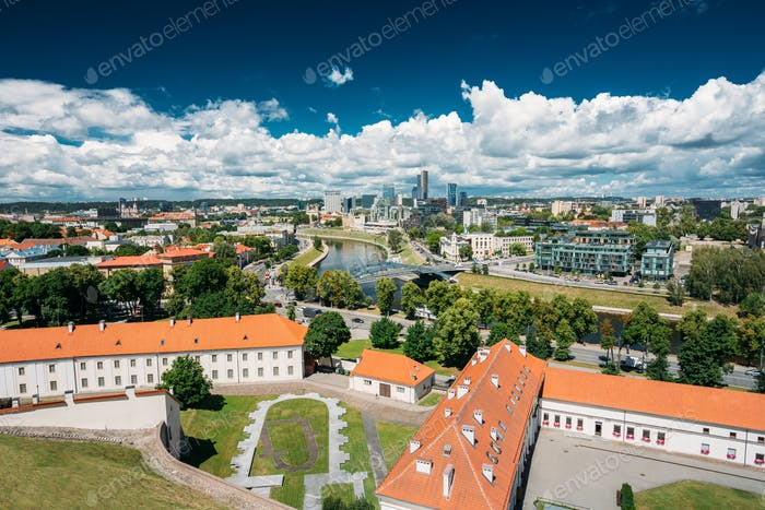 Vilnius, Lithuania. Modern City And Part Of Old Town Under Drama