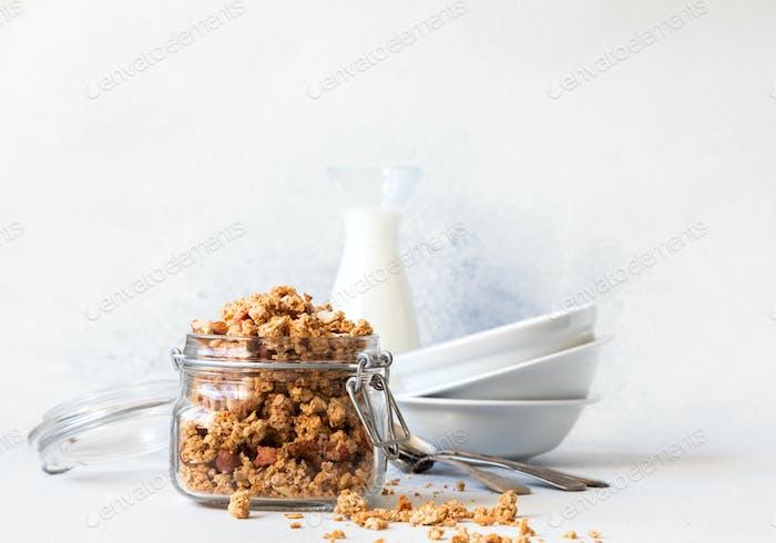 Granola, muesli . Breakfast, snack.Concept of healthy