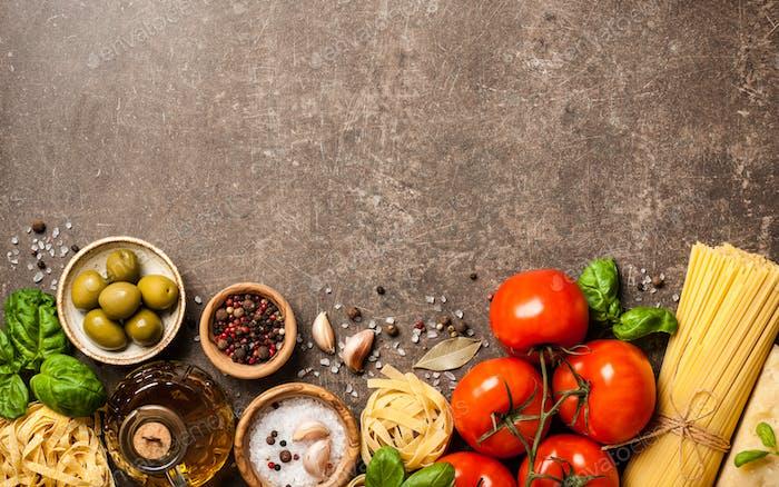 Italienische Küche Konzept mit Zutaten