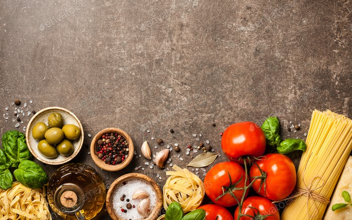 Italian cuisine concept with ingredients