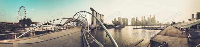 Panorama of The Helix bridge with Marina Bay Sands in background, Singapore