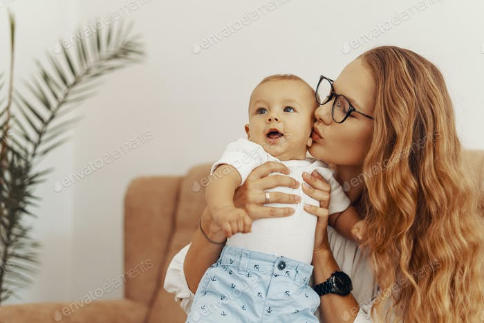 Mother and baby having fun together