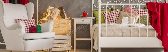 Cozy grey and white bedroom