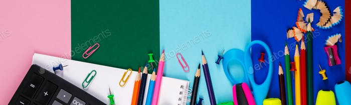 Banner of School or office stationery on colorful background. Back to School.