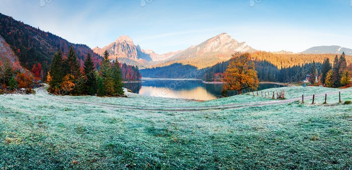 Peaceful autumn view on Obersee lake in Swiss Alps