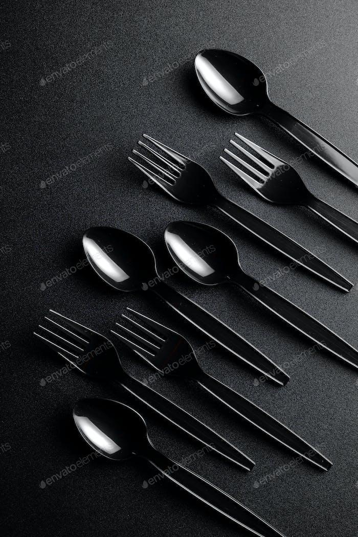Schwarzes Kunststoffbesteck