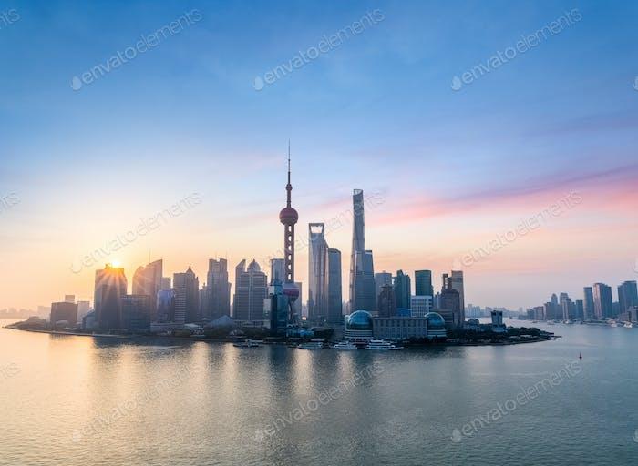 beautiful shanghai skyline in sunrise