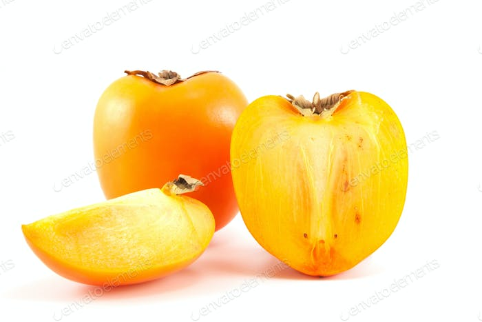 Orange persimmon with slices