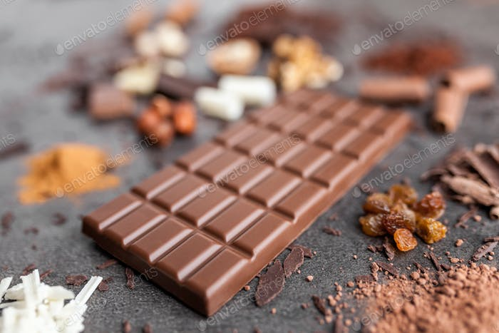 Delicious chocolate on a rustic background