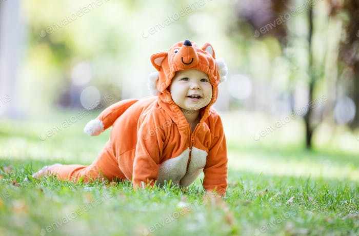 Happy baby girl dressed in fox costume crawling on lawn in park