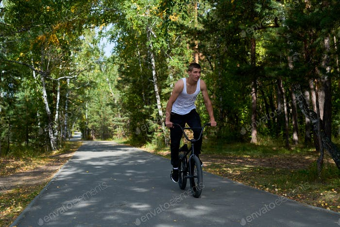 Man Riding BMX in Forest