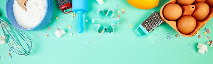 Banner with Baking or cooking ingredients. Bakery frame. Dessert ingredients and utensils.