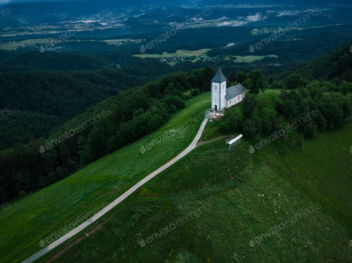 Aerial drone, Chapel of  St. Primus and Felician, Jamnik, Sloven