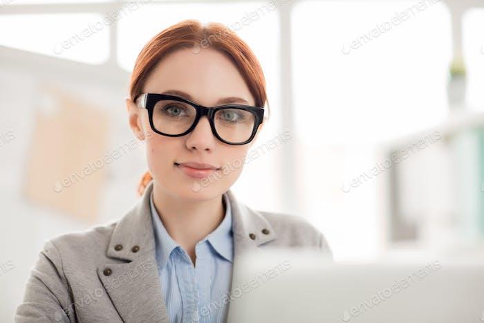 Employee in eyeglasses