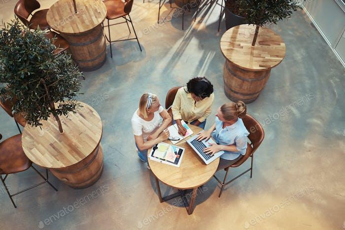 Diversos grupos de mujeres de negocios que trabajan juntas en una cafetería de oficina