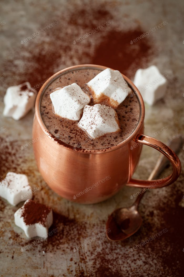 Hot chocolates with marshmallows