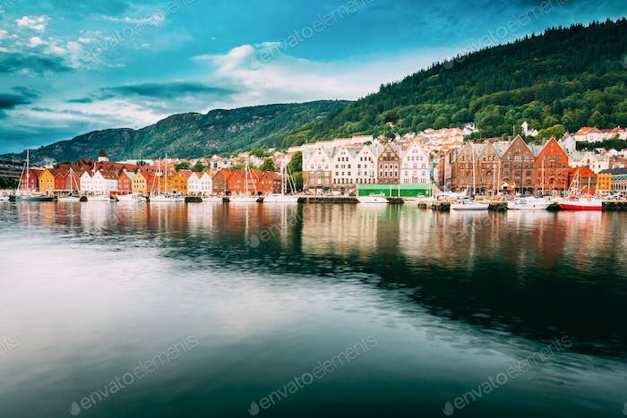 Bergen, Norway. View Of Historical Buildings Houses In Bryggen -
