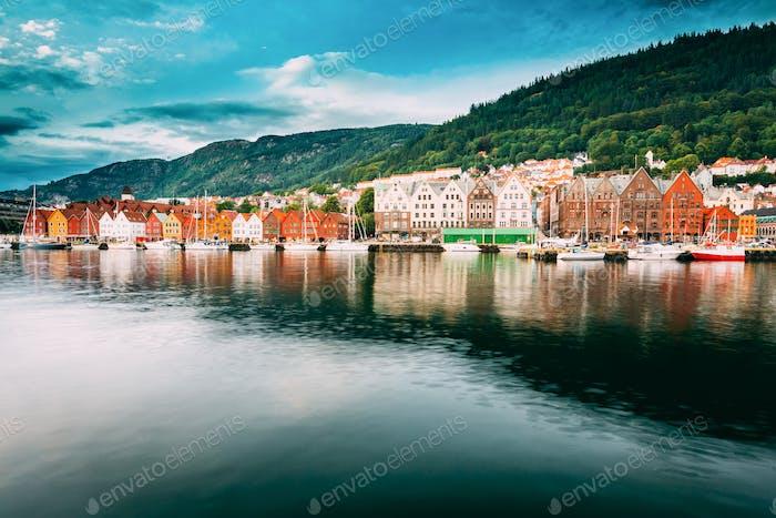 Bergen, Norway. View Of Historical Buildings Houses In Bryggen -