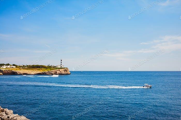 Seascape with Portocolom Lighthouse, Mallorca.