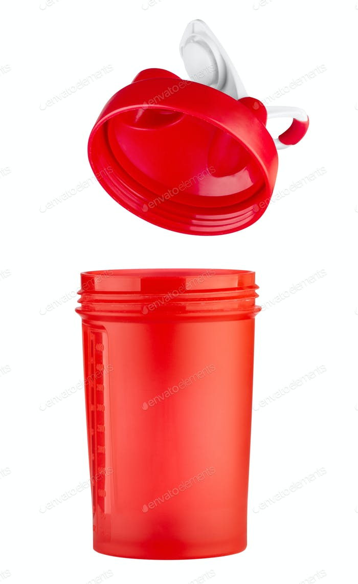 Red shaker for sports nutrition with an open lid