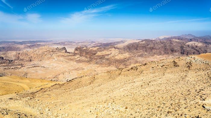 view of sedimentary rocks around Wadi Araba