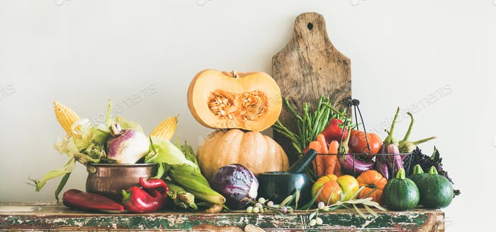 Fall seasonal vegetarian food ingredients variety, copy space, wide composition