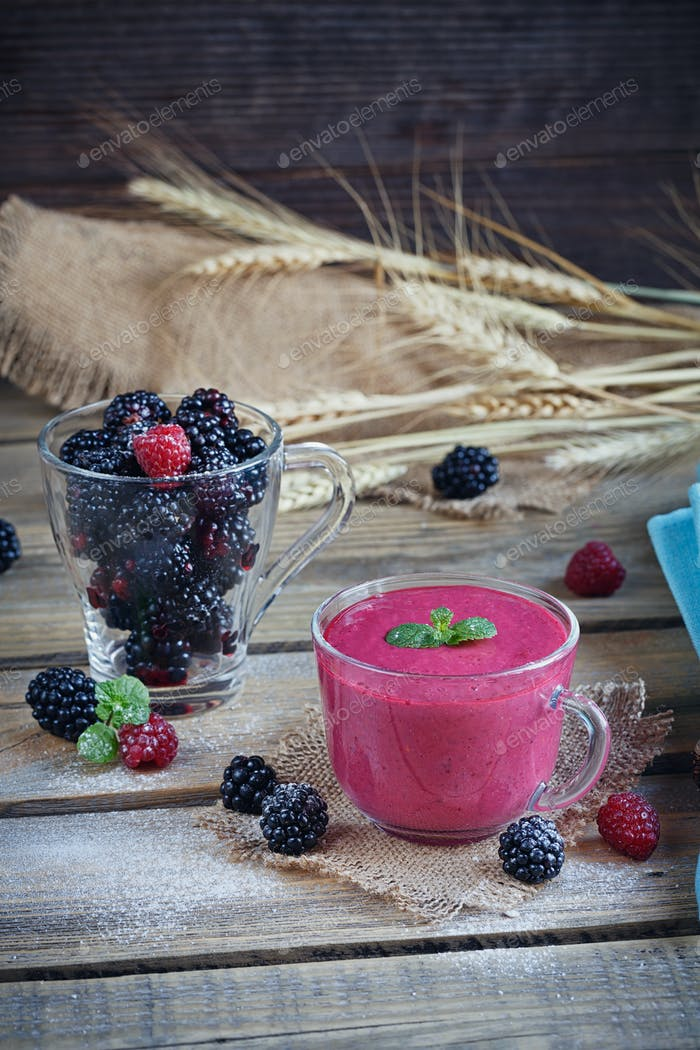Blackberry and Raspberry Smoothie, Detox Yogurt or Milkshake