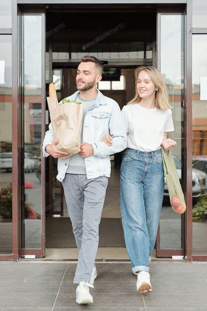 Leaving supermarket