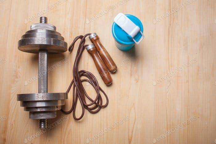 fitness equipment on wooden floor