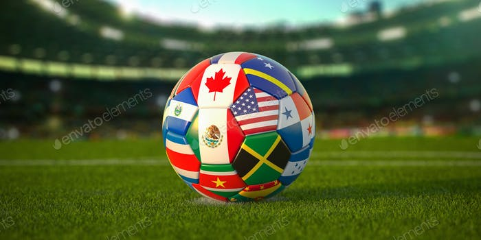 Soccer Football ball with flags of North America countries