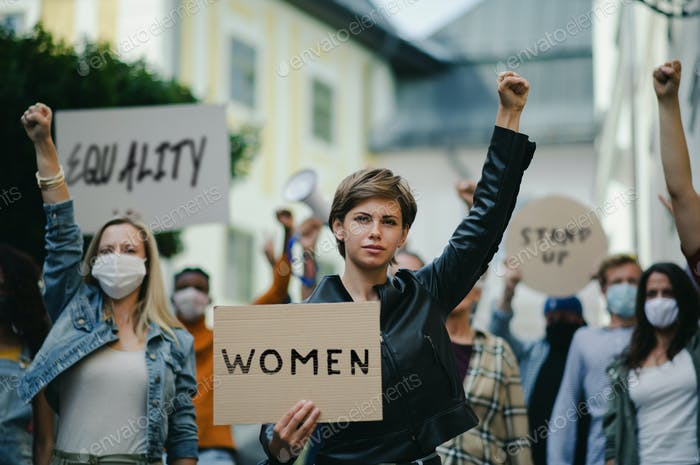 Group of people activists protesting on streets, women march and demonstration concept