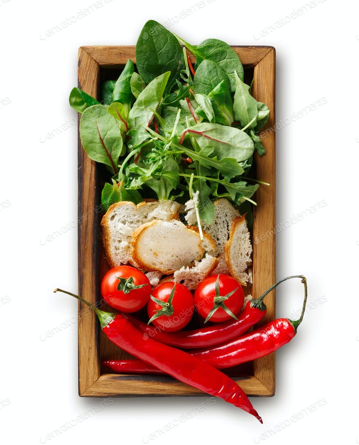Cooking ingredients for salad in wooden box