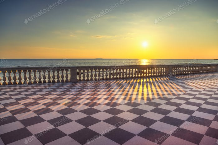 Mascagni Terrazza terrace belvedere at sunset. Livorno Tuscany I