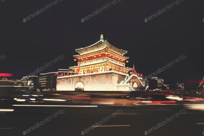 Xian bell tower at night, China.