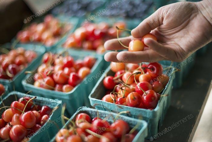 Punnets of fresh organic soft fruits.  Cherries.