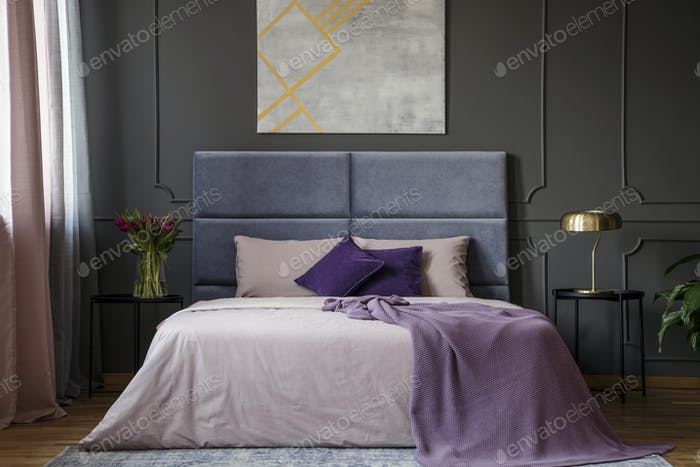 Violet elegant bedroom interior