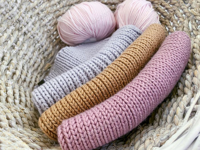 wool colored things and balls of yarn
