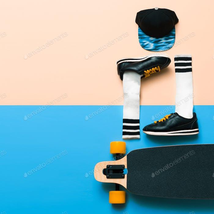 Minimal fashion creative art. Stylish sneakers and socks. Cap. S