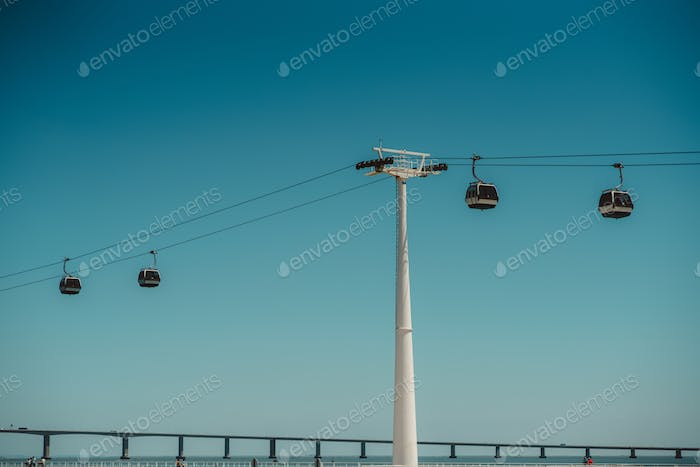 Contemporary cableway on a sunny day