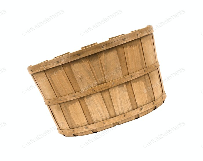 empty wooden basket isolated on white background