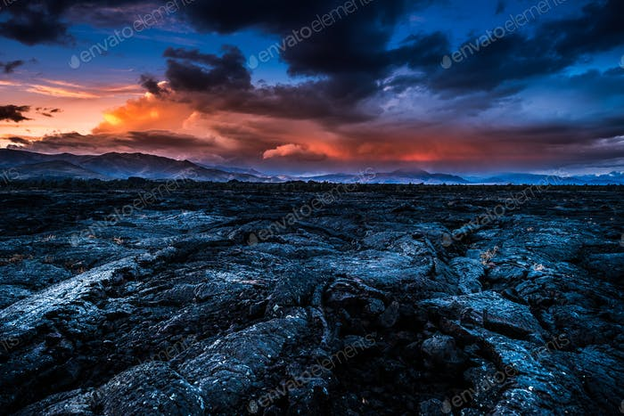 Storm Clouds over Craters of the Moon Idaho Landscape