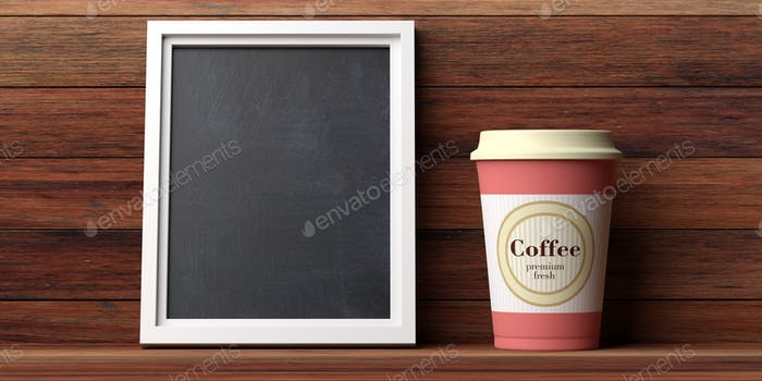 Coffee cup orange with a lid and blank blackboard on a wooden wall background, copy space,