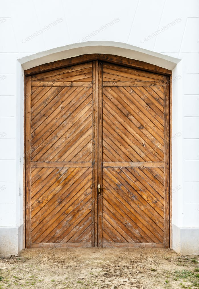 Old wooden front door
