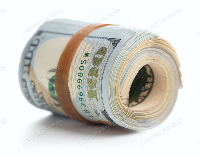 Pila enrollada de dólares