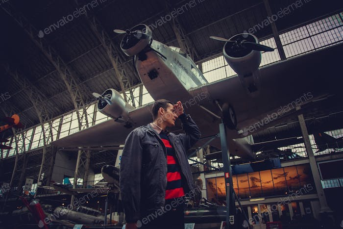 A man in airplanes museum.
