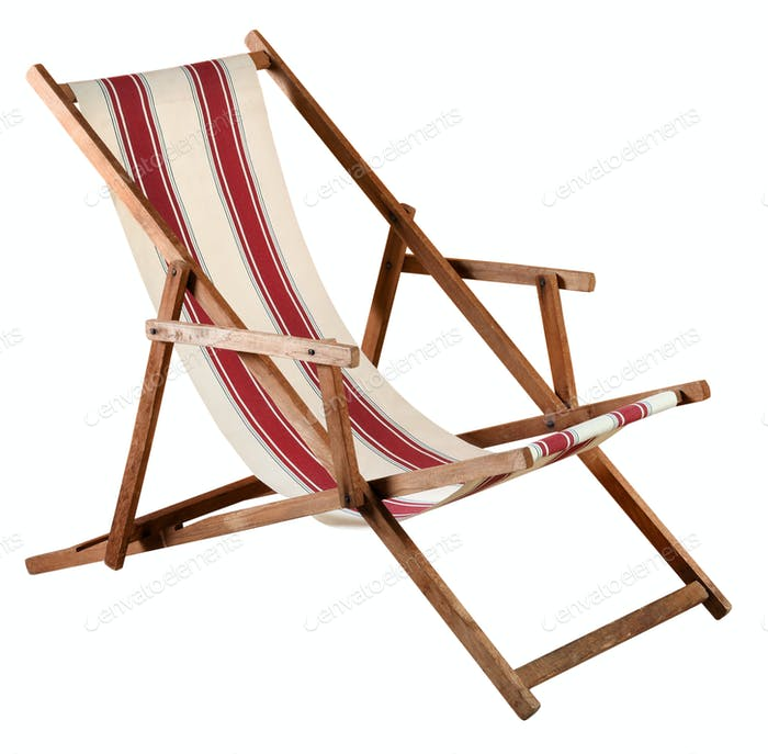Folding wooden deckchair or beach chair