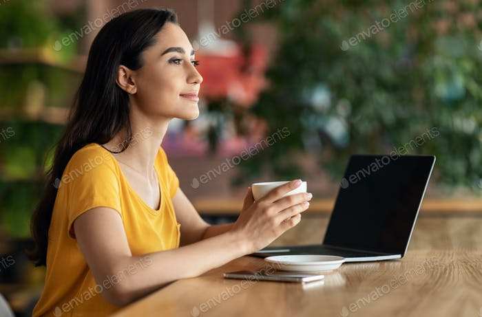 Happy young lady using laptop at cafe