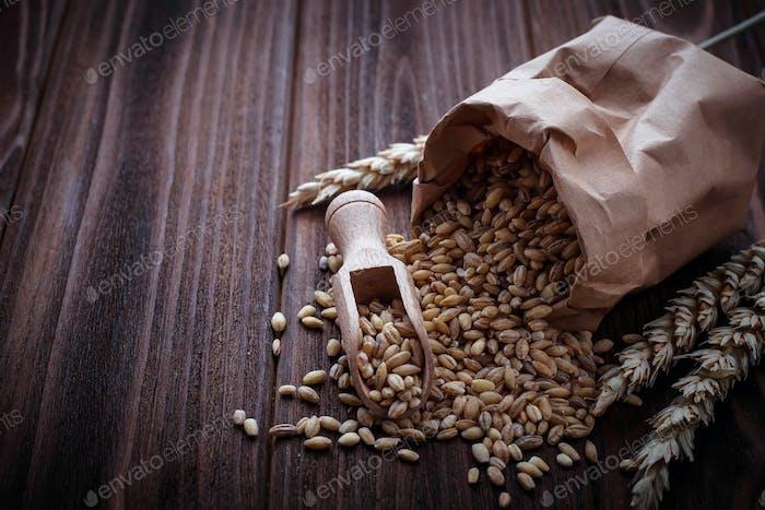 Wheat grain in paper bags