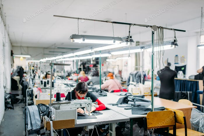 Workshop, production of clothing, sewing machine
