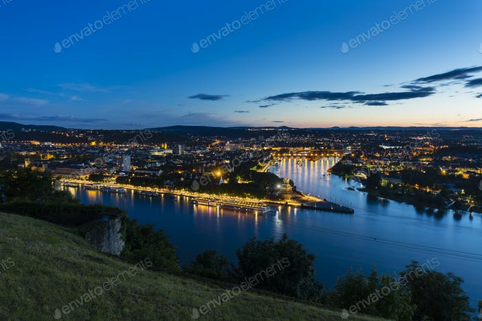 Koblenz Oldtown and Deutsches Eck At Night